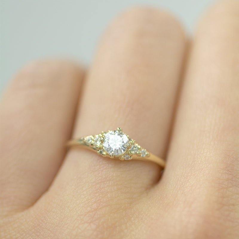 Round Moissanite & Diamonds Cluster Engagement Ring
