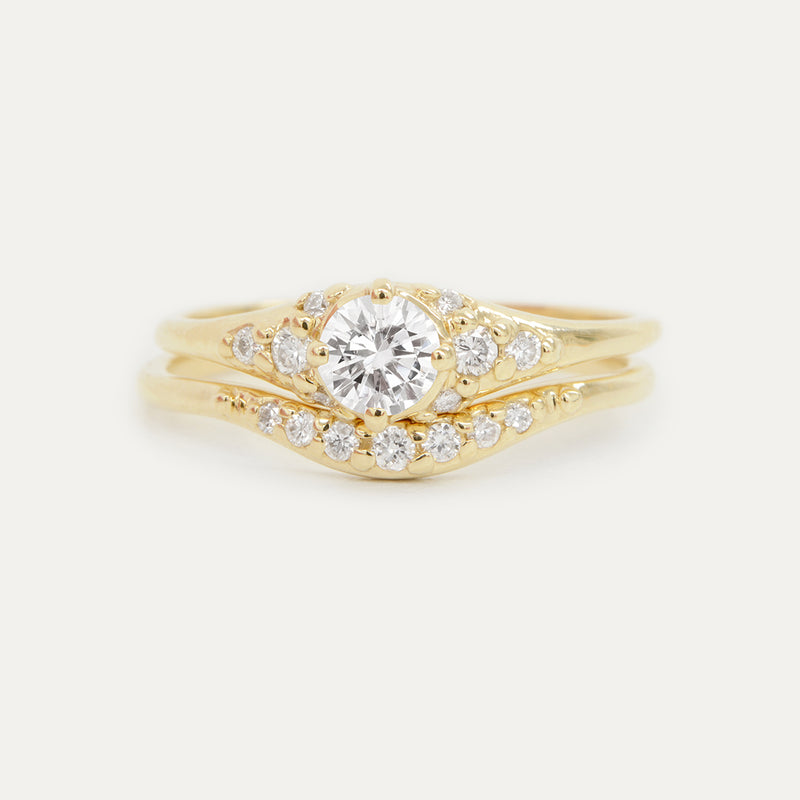 Forever One Round Moissanite and Diamonds Four Prong Cluster Wedding Set Rings - A Gilded Leaf jewelry