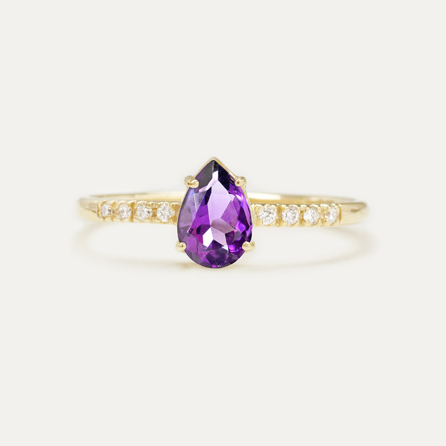 Amethyst Pear Cut Diamond Ring