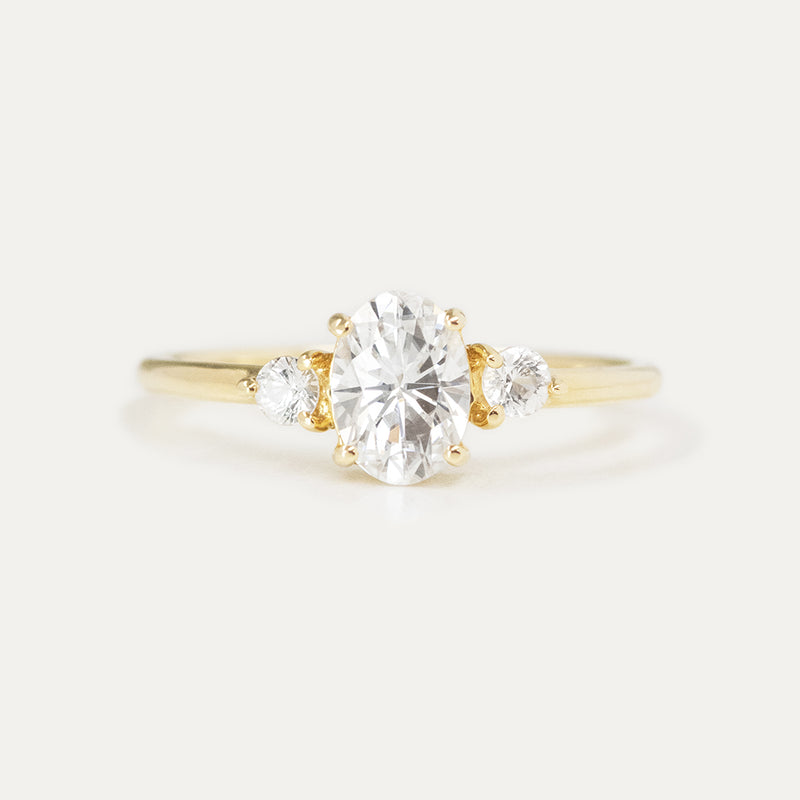 Three Stone Oval Moissanite Engagement Ring
