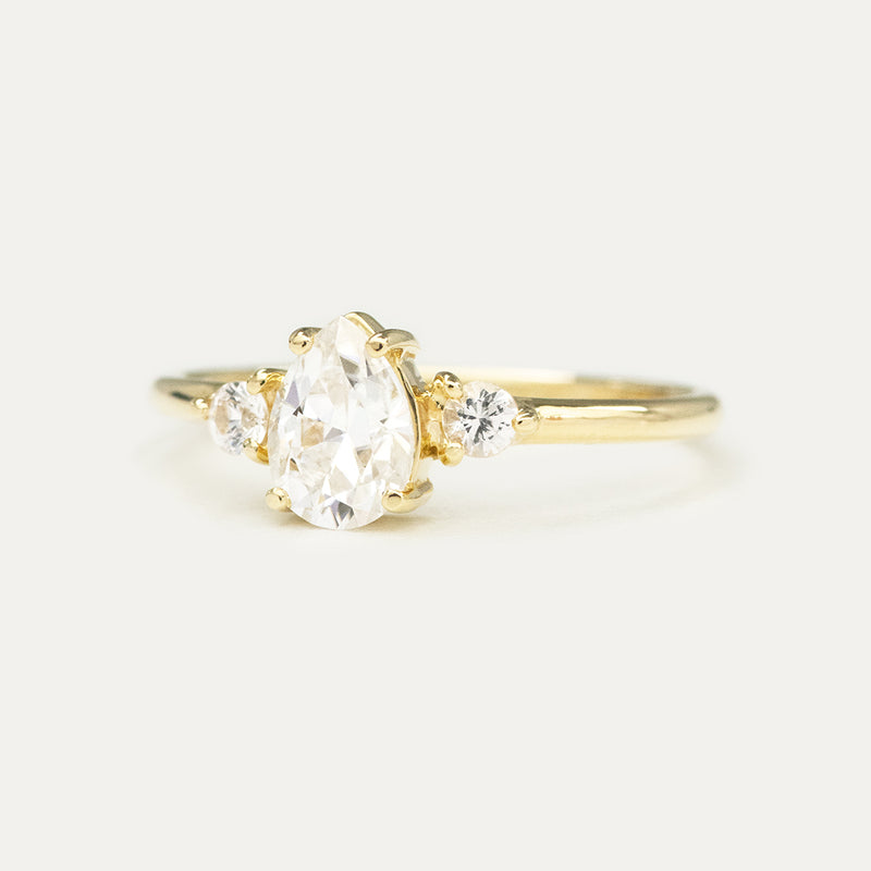 7x5MM Pear Moissanite Three Stone Engagement Ring