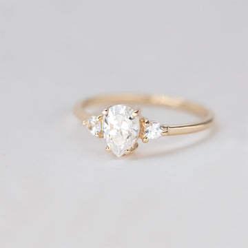 Forever One Three Stone Pear Moissanite Engagement Ring