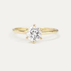 Round Moissanite Six Prong Solitaire Engagement Ring