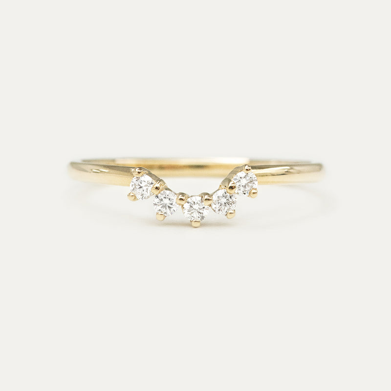 Nova Diamond Curved Wedding Ring - Sample
