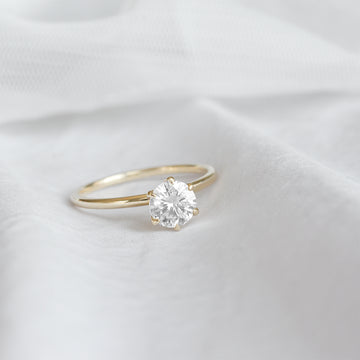 Forever One Round Moissanite Six Prong Classic Solitaire Engagement Ring