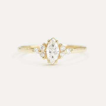 Forever One Marquise DEF Moissanite and Diamonds Cluster Engagement Ring