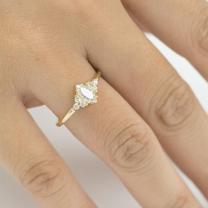 Marquise Moissanite and Diamonds Cluster Engagement Ring