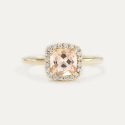 Halo Cushion Morganite and Pavé Diamond Engagement Ring