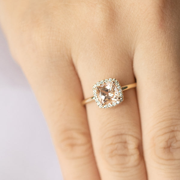 Cushion Morganite and Diamonds Halo Engagement Ring