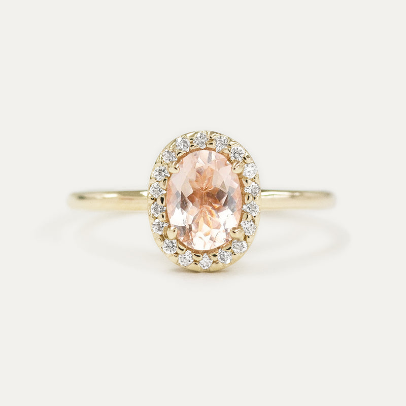 Halo Oval Morganite and Pavé Diamond Engagement Ring