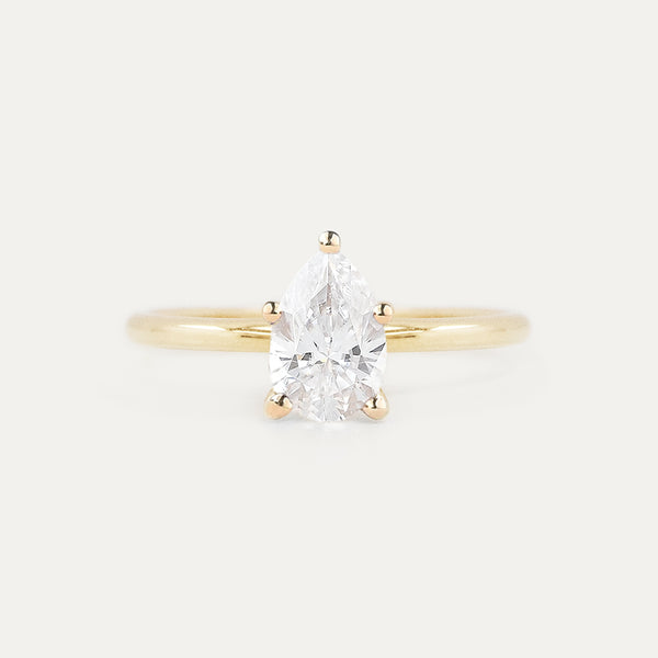 8x5MM Pear Moissanite Solitaire Engagement Ring
