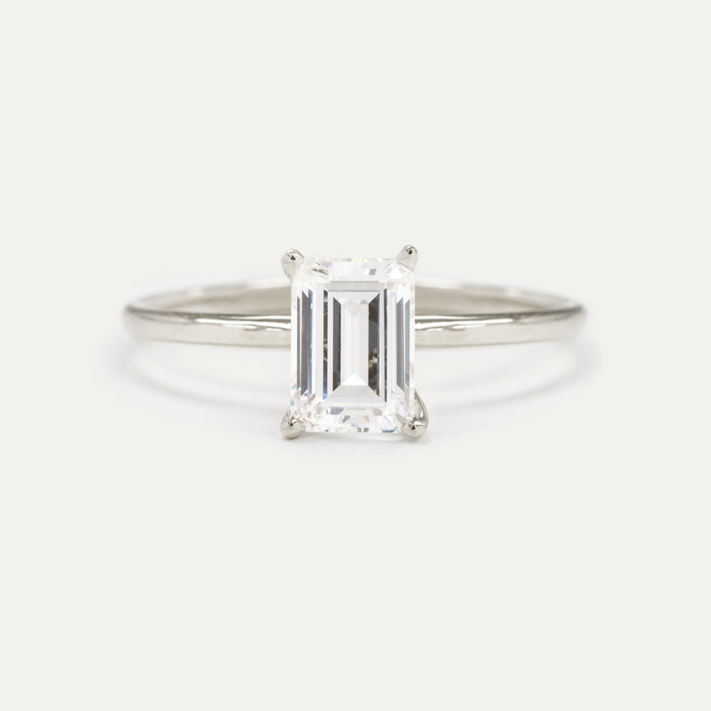 Forever One Emerald Moissanite Four Prong Classic Solitaire Engagement Ring