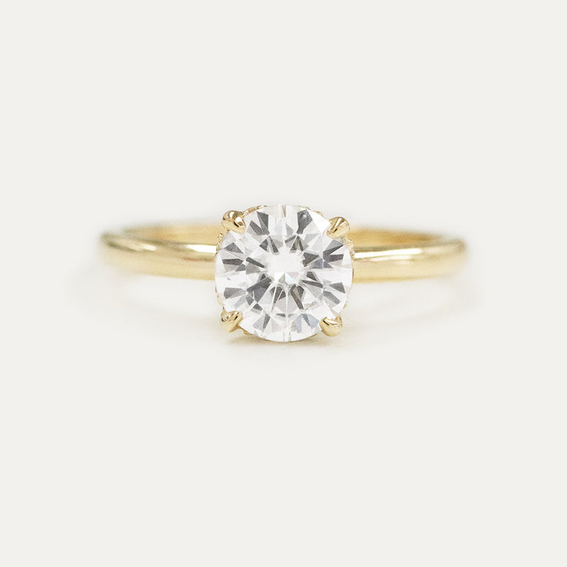 7MM Round Moissanite & Diamond Hidden Halo Engagement Ring