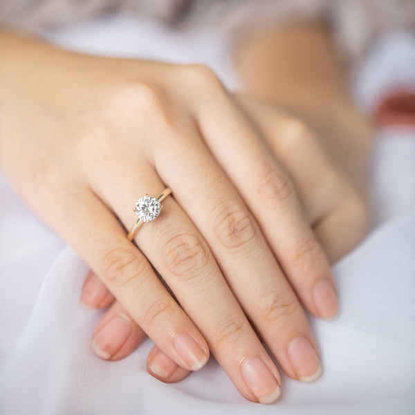 Round Moissanite & Diamond Hidden Halo Engagement Ring