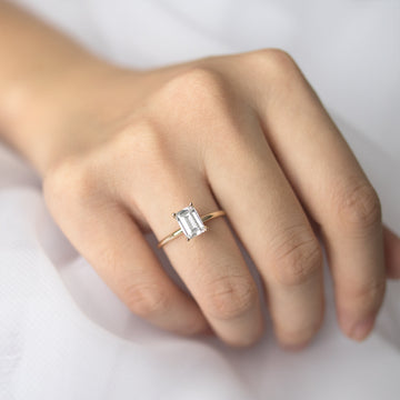 Forever One Emerald Cut Moissanite Four Prong Classic Solitaire Engagement Ring