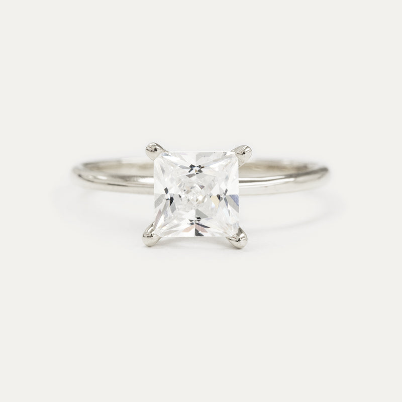 Princess Cut Four Prong Moissanite Solitaire Engagement Ring