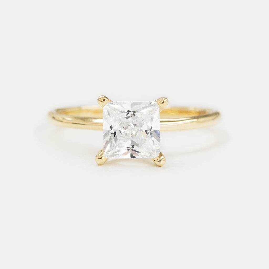 Forever One Princess Moissanite Four Prong Classic Solitaire Engagement Ring