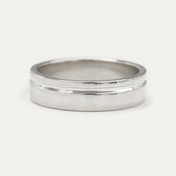 Single Grooved Ring 6MM - White Gold