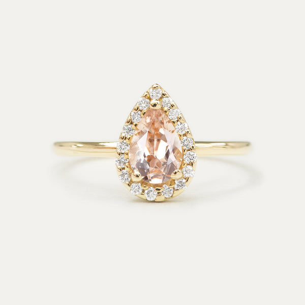 Halo Pear Morganite and Pavé Diamond Engagement Ring