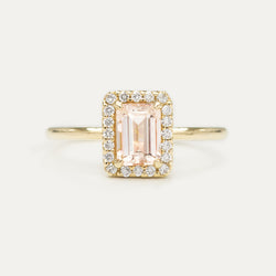 Halo Emerald Morganite and Diamond Engagement Ring - Sample