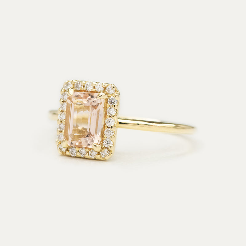 Halo Emerald Morganite and Pavé Diamond Engagement Ring