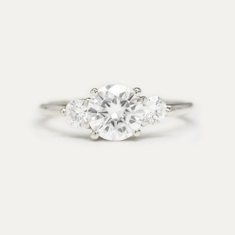 7MM Round Moissanite Three Stone Engagement Ring