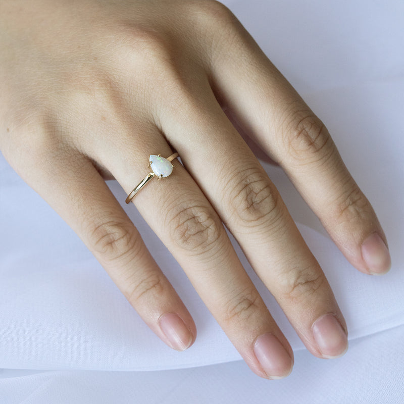 Pear Opal Solitaire Ring