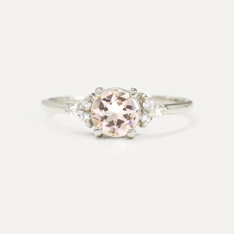 Blush Pink Morganite Diamond Accent Engagement Ring