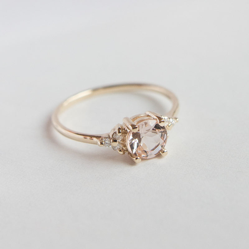 Blush Pink Morganite Diamond Accent Engagement Ring - Sample