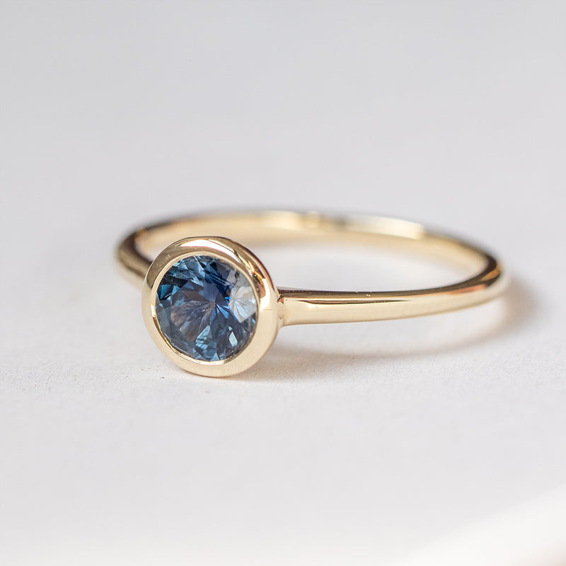 Ethereal Montana Blue Sapphire Bezel Engagement Ring - Sample
