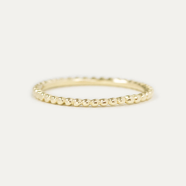 Solid Beaded Gold Ring