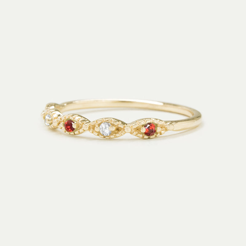 Beaded Diamond Gemstone Ring (Multiple Gemstone Options)