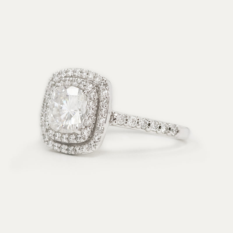 Double Halo Cushion Moissanite Diamond Engagement Ring