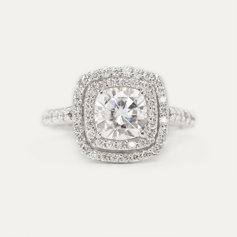 Double Halo Cushion Moissanite Diamond Engagement Ring - Sample