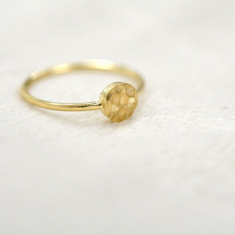 Hammered Circle Dot Ring Rings - A Gilded Leaf jewelry
