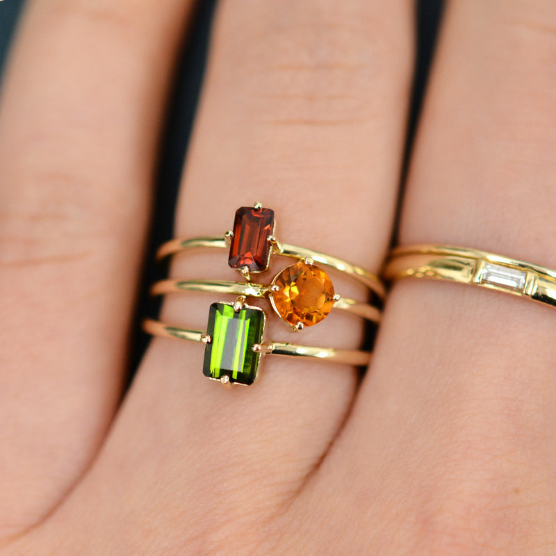Green Tourmaline Sparkler Ring Rings - A Gilded Leaf jewelry
