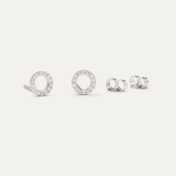 Diamond Open Circle Studs