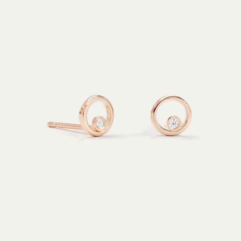 Diamond Circle Gold Earrings