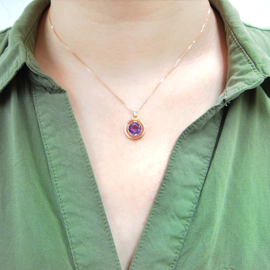 Floating Amethyst Necklace One of a Kind - A Gilded Leaf jewelry