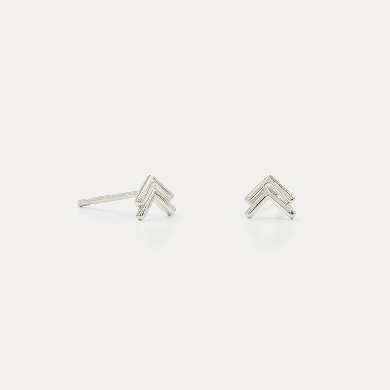 Tiny Double Chevron Stud Earrings