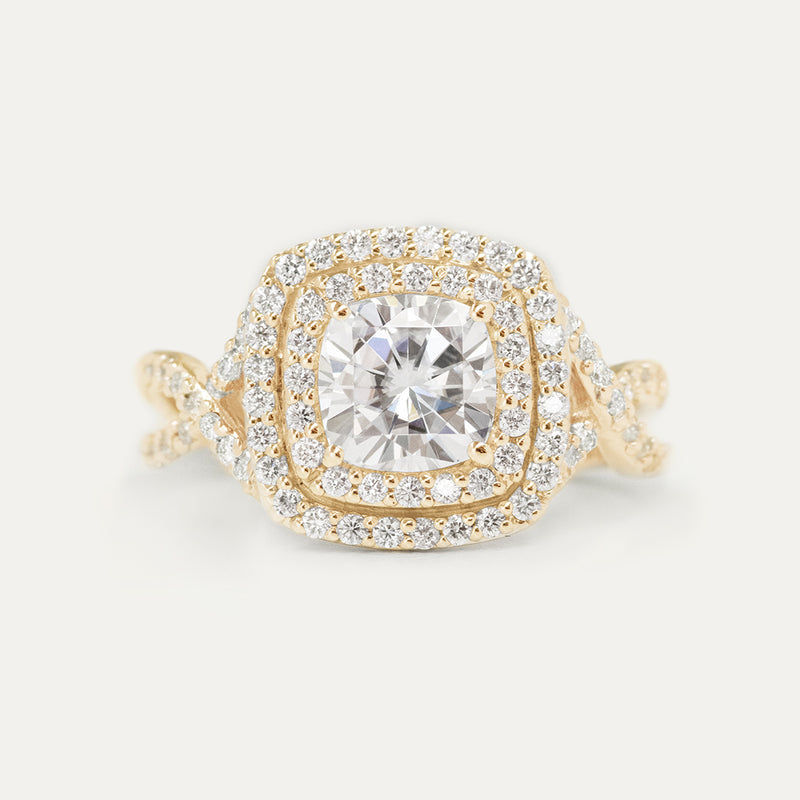 Double Halo Cushion Moissanite Diamond Braided Engagement Ring