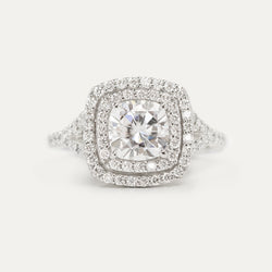 Double Halo Cushion Moissanite Split Diamond Engagement Ring