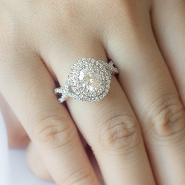 Double Halo Oval Moissanite Diamond Braided Engagement Ring - Sample
