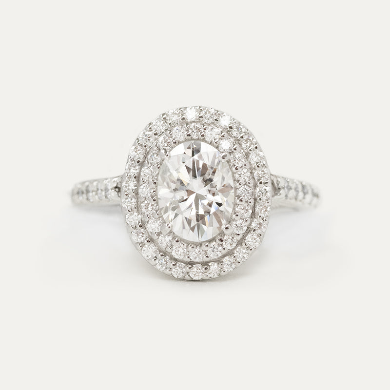 Double Halo Oval Moissanite Diamond Engagement Ring