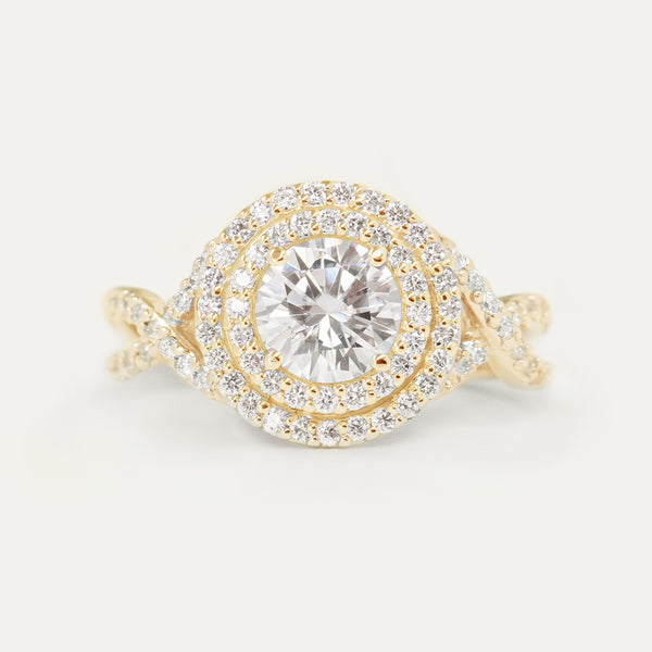 Double Halo Round Moissanite Diamond Braided Engagement Ring