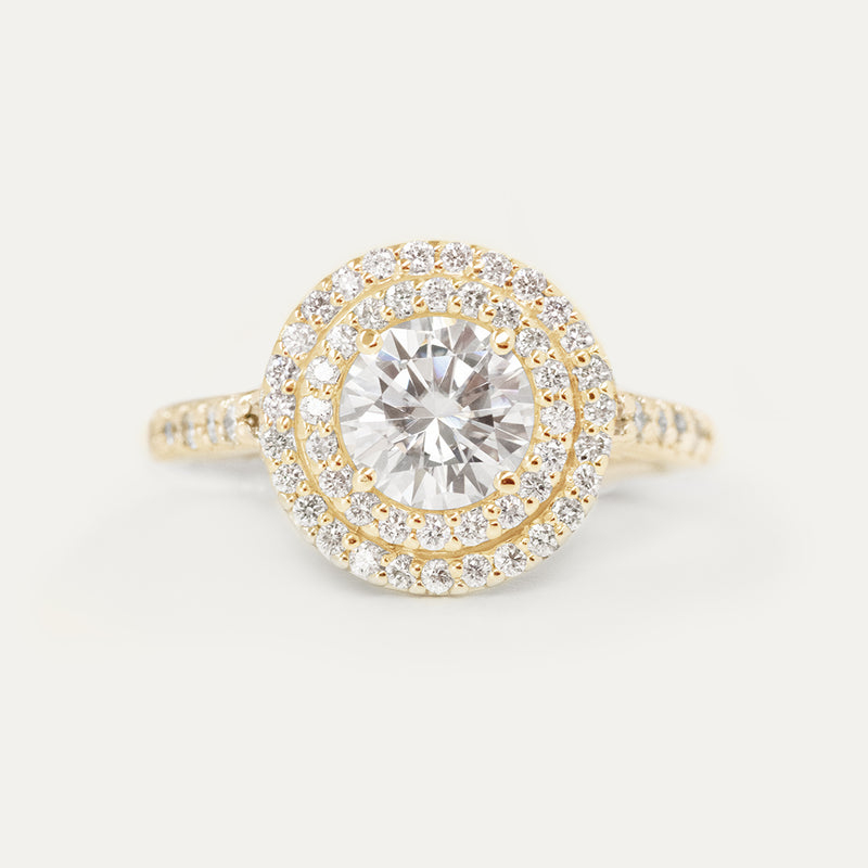 Double Halo Round Moissanite Diamond Engagement Ring