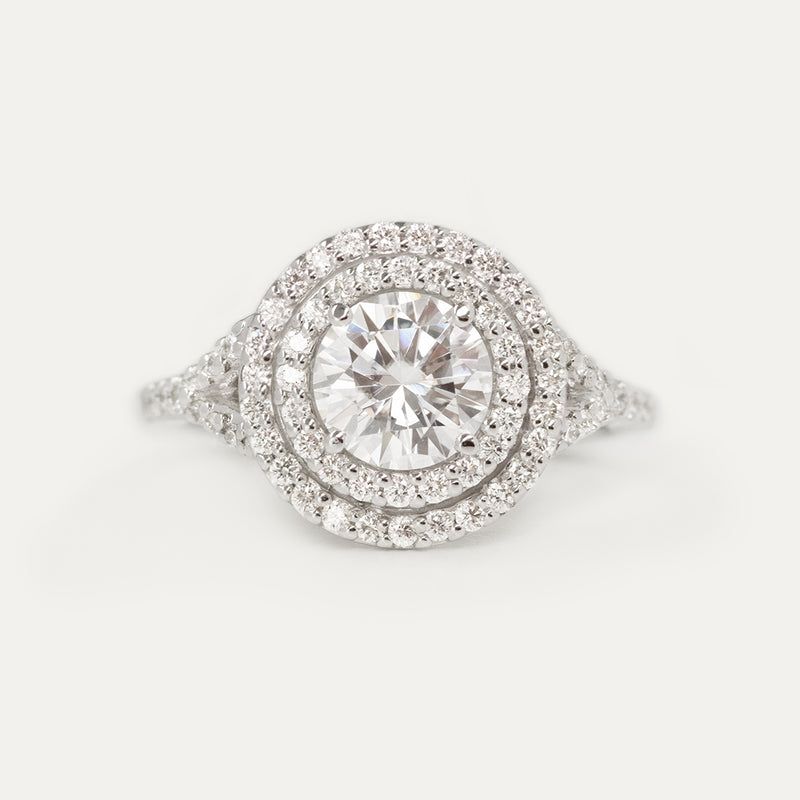 Double Halo Round Moissanite Split Diamond Engagement Ring - Sample