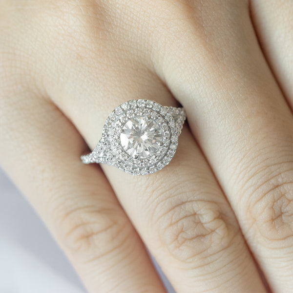 Double Halo Round Moissanite Split Diamond Engagement Ring