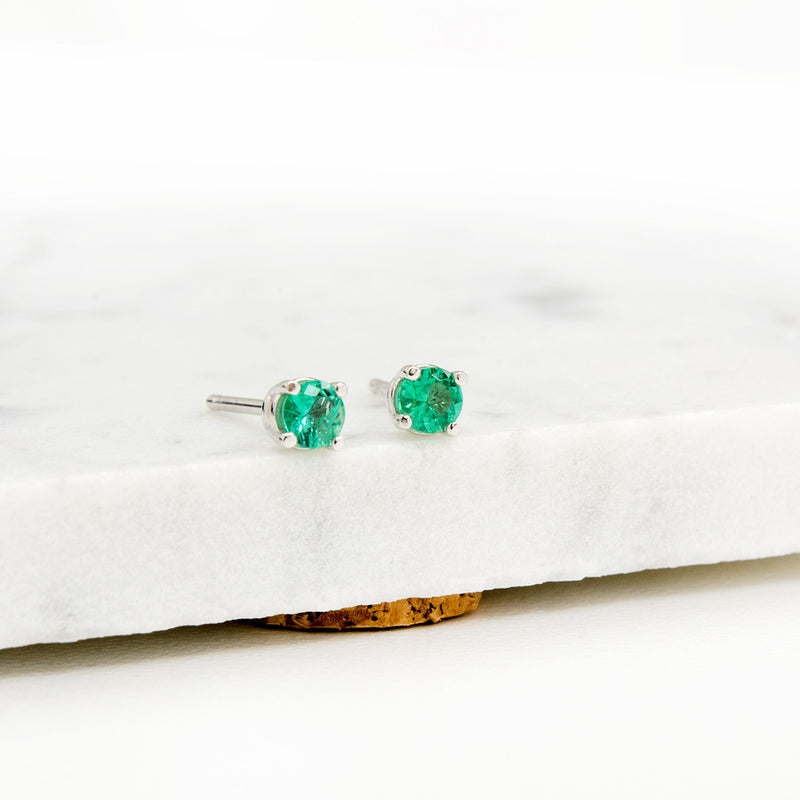 Emerald Studs Earrings - A Gilded Leaf jewelry