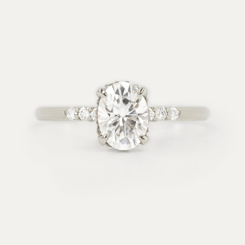 Oval Moissanite Hidden Halo Diamond Engagement Ring